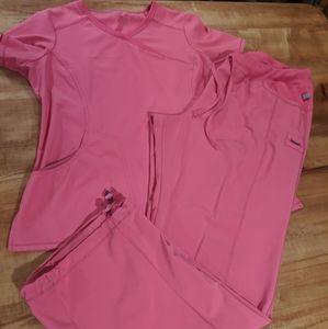 Cherokee Infinity scrub set pink coral size xl